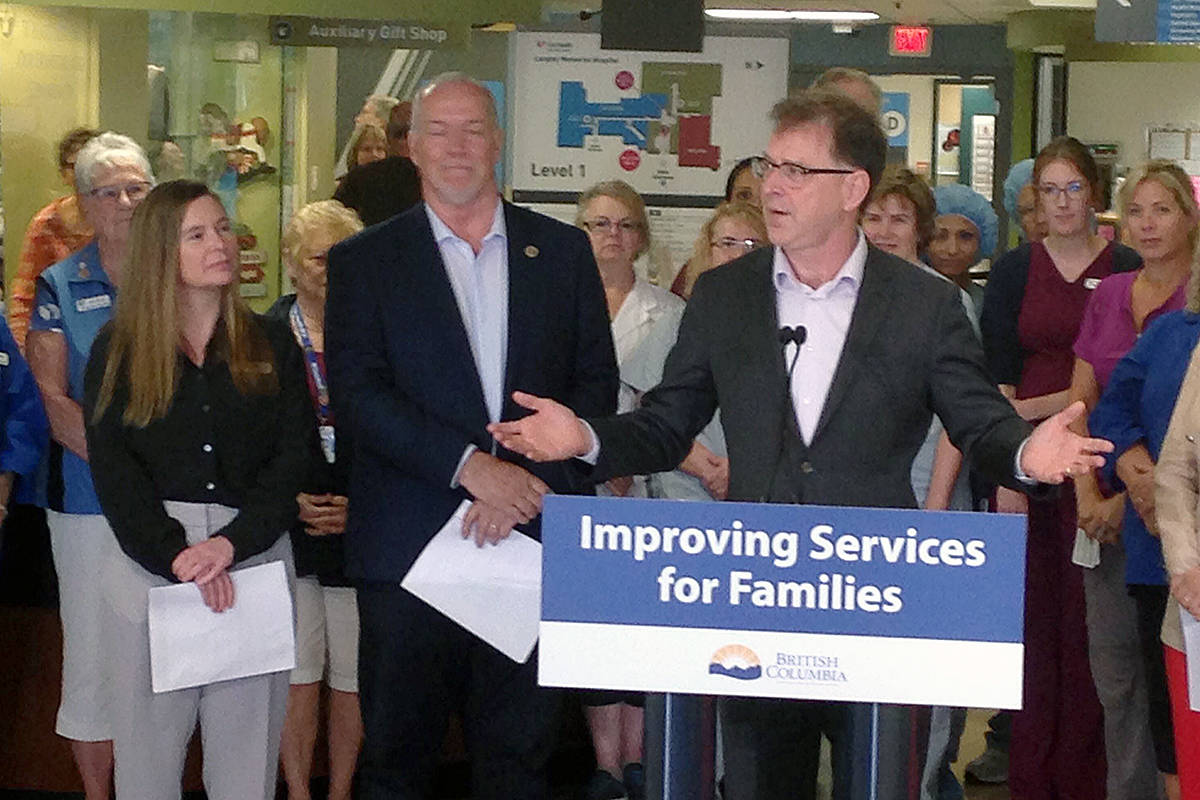 Premier John Horgan and health minister Adrian Dix at a Langley Memorial Hospital press conference to announce the start of construction for a new MRI scanning machine. Matthew Claxton Langley Advance Times