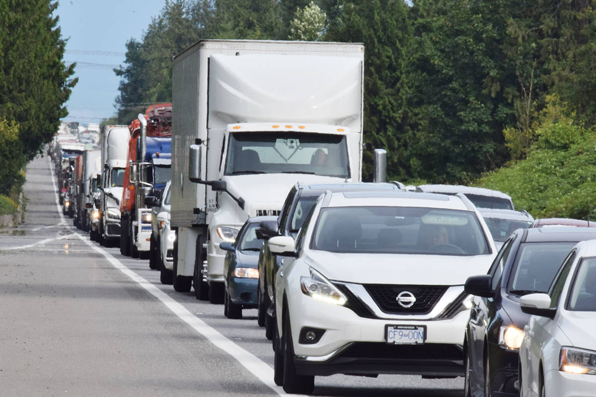 Highway backups are increasingly the norm between Abbotsford and Langley, data from the Ministry of Transportation shows. Patrick Penner/Abbotsford News