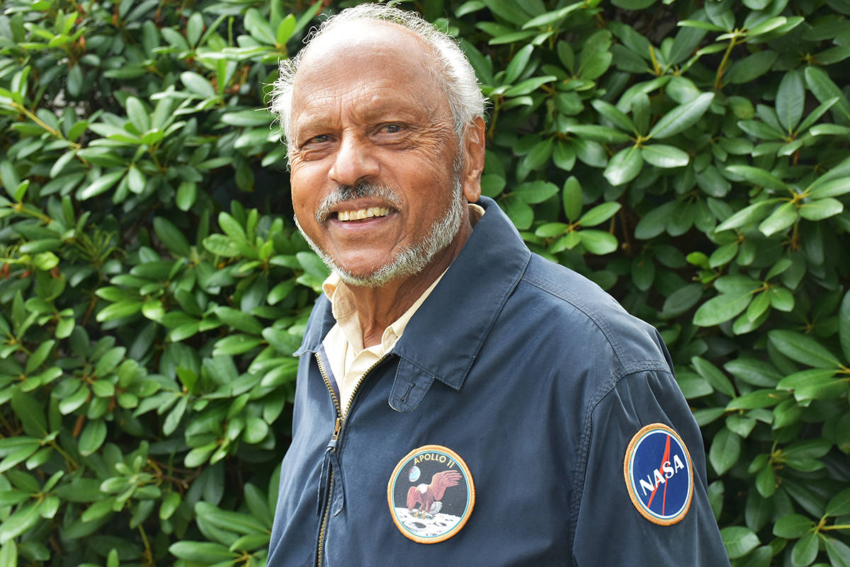 (Neil Corbett/THE NEWS)                                Leslie Michael wears the Apollo 11 jacket he made. The moon landing enthusiast has been working on a lunar mission scrap book for 50 years, and it is going up for auction this weekend, the anniversary of Neil Armstrong's first step on the moon.