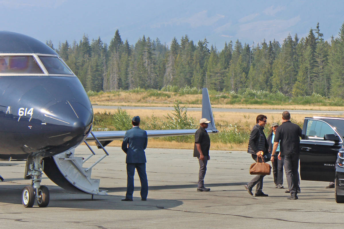 Canadian Prime Minister Justin Trudeau visiting Port Alberni last year. He used a Challenger jet for the trip, so he could join a waiting motorcade for the drive to Tofino, where he joined his family on a private holiday. (Tony Shumuk Photo)