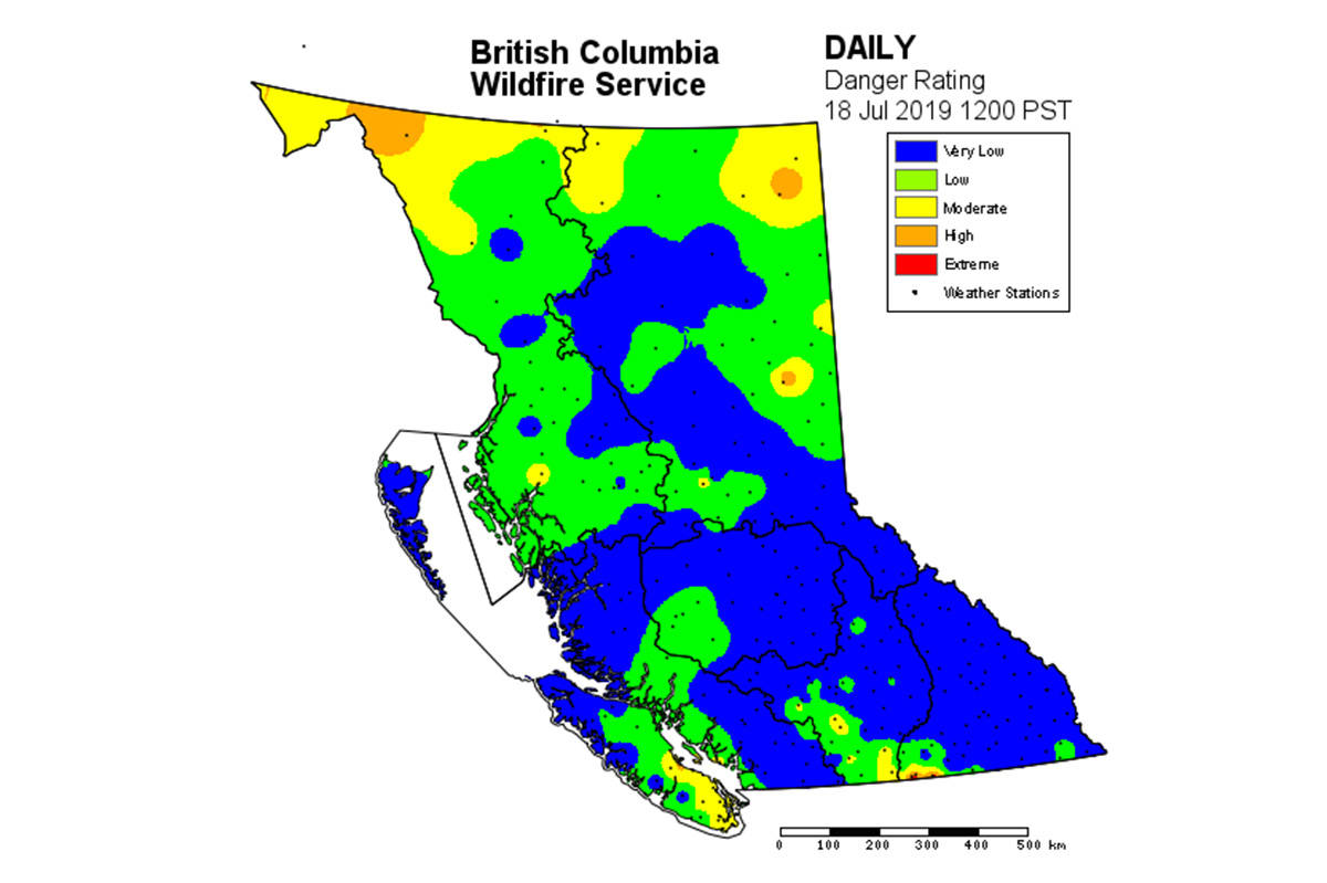 While the map of B.C. tweeted out by the BC Wildfire Service shows low to very low risk of wildfire the service maintains British Columbians should not become complacent. (Twitter)
