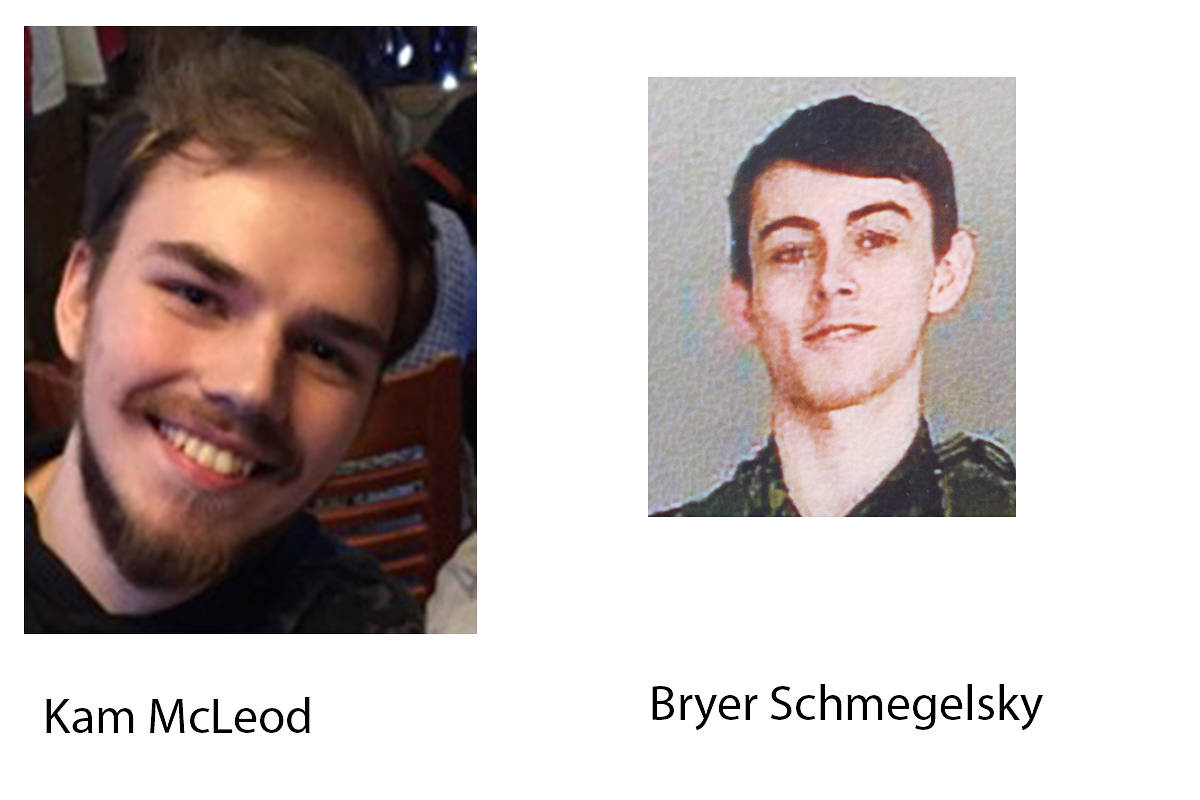 Dease Island RCMP are seeking the whereabouts of Kam McLeod and Bryer Schmegelsky of Port Alberni after their vehicle was discovered on fire south of Dease Lake on July 19, 2019. SUBMITTED PHOTOS