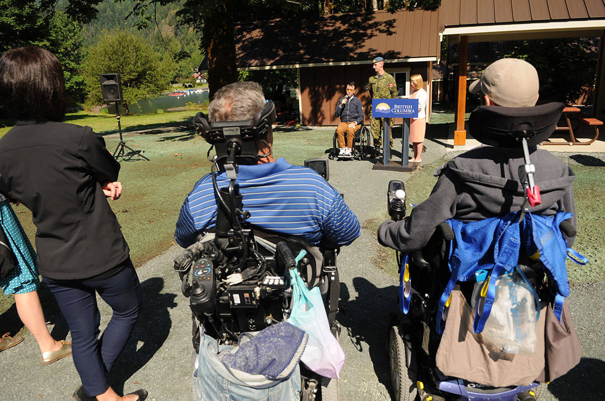 Ryan Clarkson from Spinal Cord Injury BC speaks during the official opening of 25 new wheelchair accessible cabins at Maple Bay Campground on Saturday. (Jenna Hauck/ The Progress)