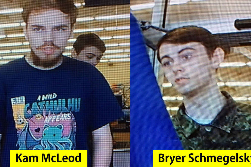 Kam McLeod and Bryer Schmegelsky, shown in Saskatchewan sometime after the three deaths in northern B.C.. (RCMP)
