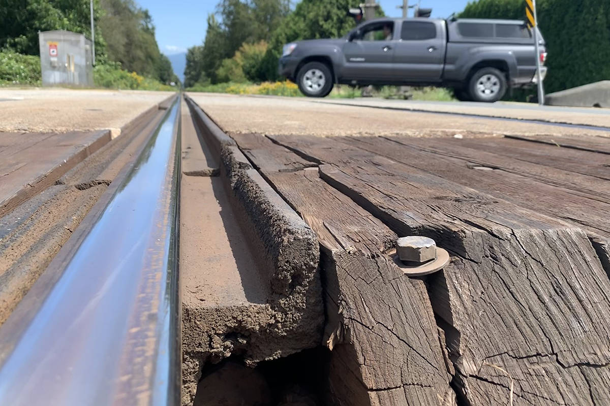 A Transportation Safety Board report issued July 23, 2019 into the death of a man at the Broadway rail crossing in Chilliwack in May 2018 found the flangeway gap is a persistent problem for people in wheelchairs. (Paul Henderson/ The Progress)