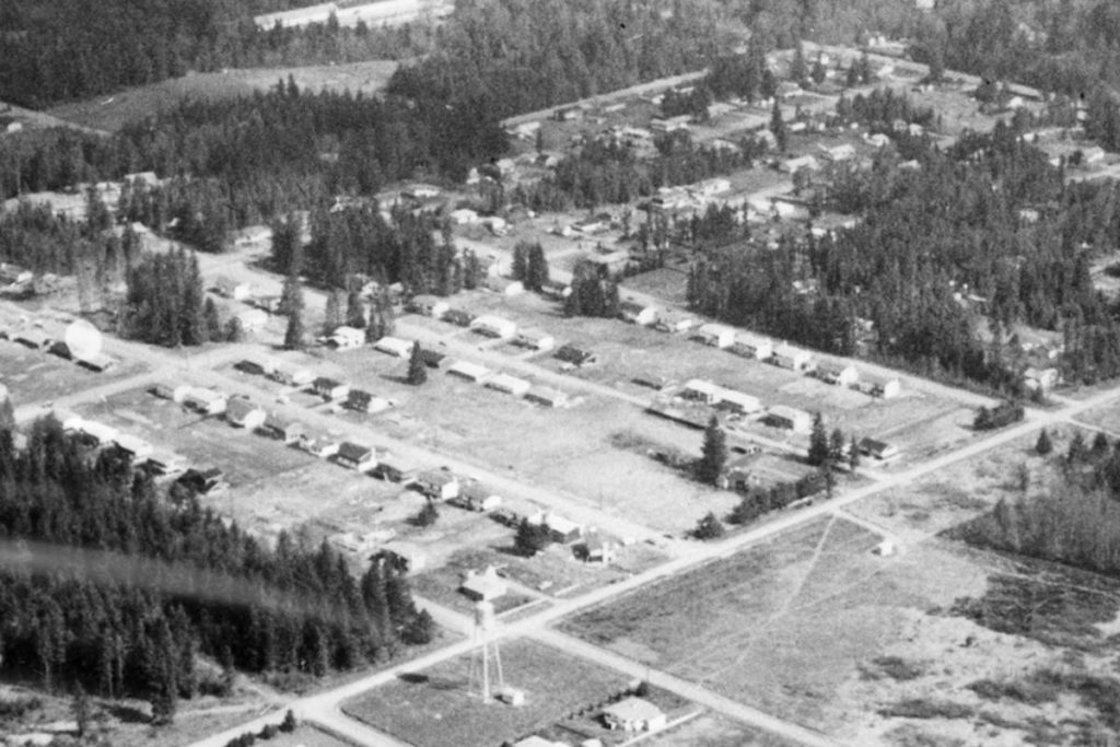 An aerial photo of Brookswood in 1973. Some lots retained trees, but others were flattened to make way for what was then brand new housing. (Langley Centennial Museum photo)