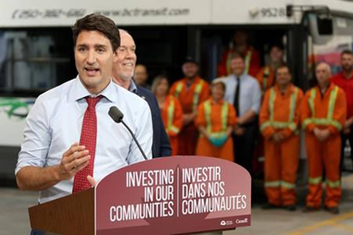 Prime Minister Justin Trudeau during a press conference at the BC Transit corporate office to announce new investments to improve transit in Victoria on Thursday, July 18, 2019. Internal government documents show federal officials are working through the summer to come up with the right policies so whoever forms the next government can help the country rightly, and quickly, adjust to a shifting economic landscape. THE CANADIAN PRESS/Chad Hipolito