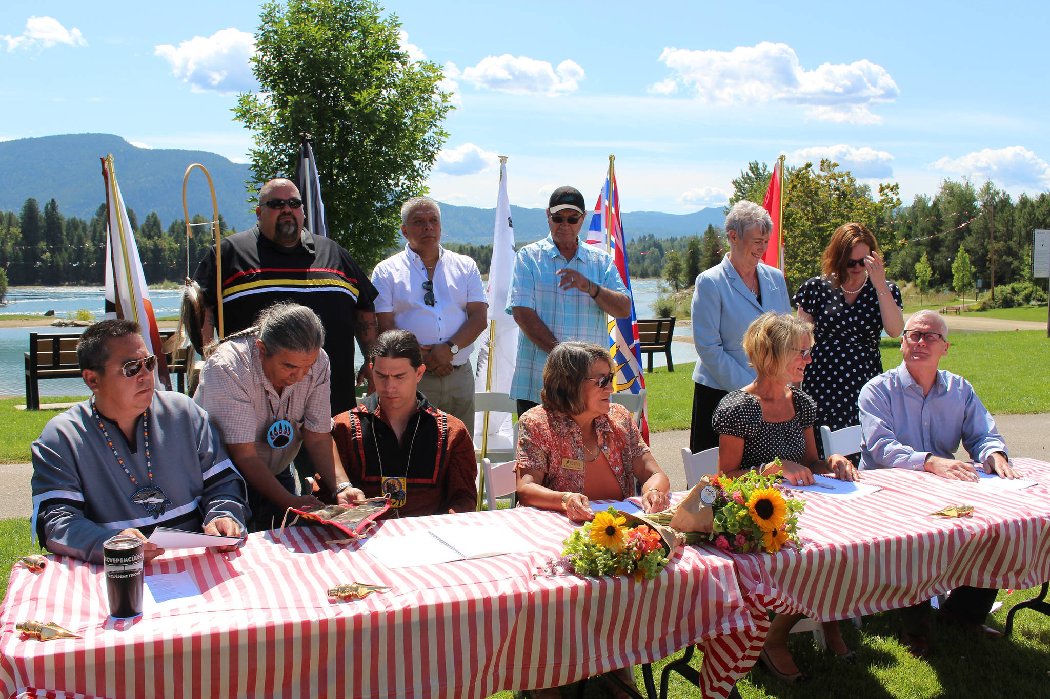 Representatives from Ottawa, B.C. and aboriginal organizations signed a treaty Monday on the banks of the Columbia River. Photo by: John Boivin