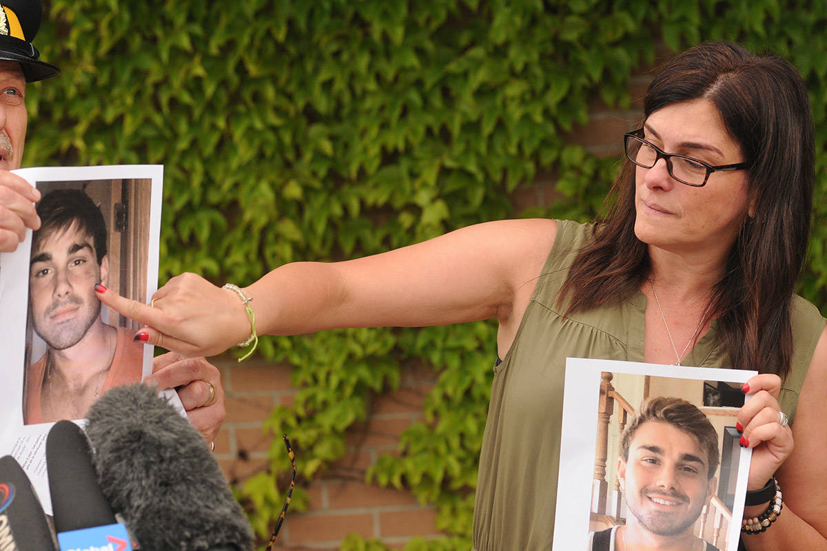 Eva Couture points to a scar in a photo of her missing son Kristofer Shawn Couture, 25. (Jenna Hauck/ The Progress)