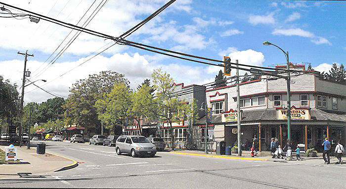 A 'before' picture of the Fort Langley core with the power lines. (File photo)
