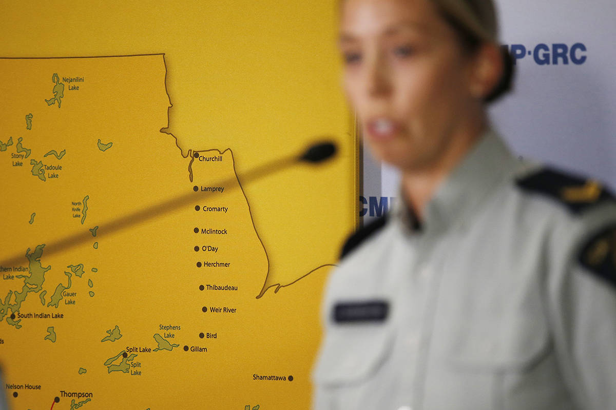 RCMP Cpl. Julie Courchaine speaks to media about the ongoing RCMP search in Northern Manitoba for the BC murder suspects in Winnipeg, Monday, July 29, 2019. RCMP are searching in the community of York Landing after two people matching the description of Bryer Schmegelsky and Kam McLeod were spotted near the dump on Sunday. THE CANADIAN PRESS/John Woods