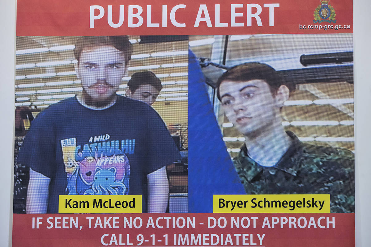 Security camera images of Kam McLeod, 19, and Bryer Schmegelsky, 18, are displayed during a news conference in Surrey, British Columbia, Tuesday, July 23, 2019. (Darryl Dyck/The Canadian Press via AP)