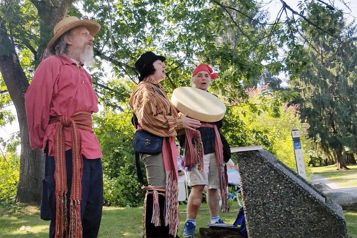 Joanne Estelle Plourde (centre) sang a traditional song. (Dan Ferguson Langley Advance Times)