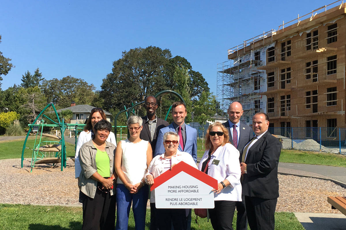 Several local, provincial and federal politicians were in attendance for the Canadian government's announcement regarding an investment into affordable housing in B.C. on Tuesday. (Devon Bidal/Saanich News)