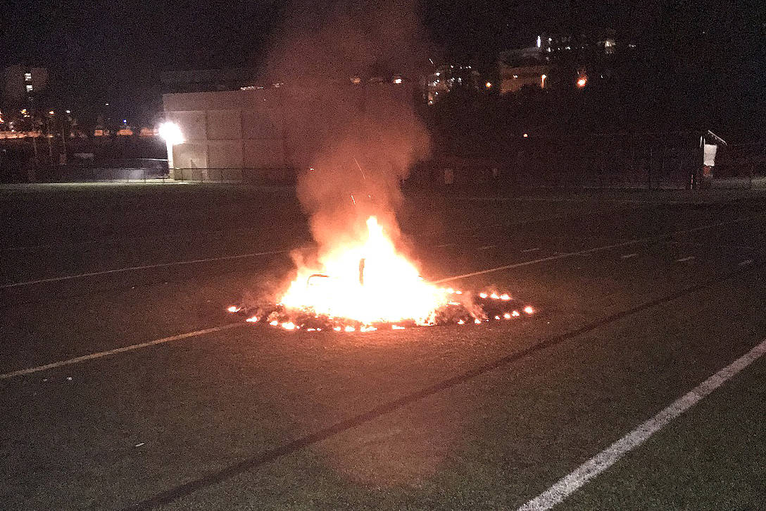 A fire set in a Nanaimo artificial turf field could cost $40,000 to repair. Photo submitted