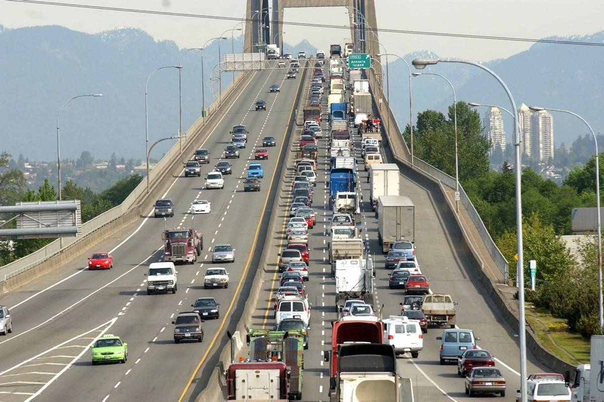 An average of 119,000 vehicles cross the Alex Fraser Bridge everyday, according to the Ministry of Transportation and Infrastructure, with drivers experiencing lines more than three kilometres long during rush hour. (Black Press Media file photo)