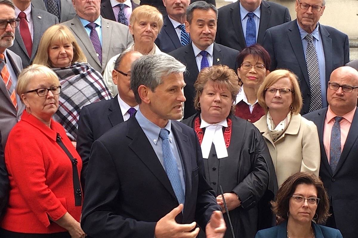 B.C. Liberal leader Andrew Wilkinson and MLAs at the B.C. legislature. (Tom Fletcher/Black Press)