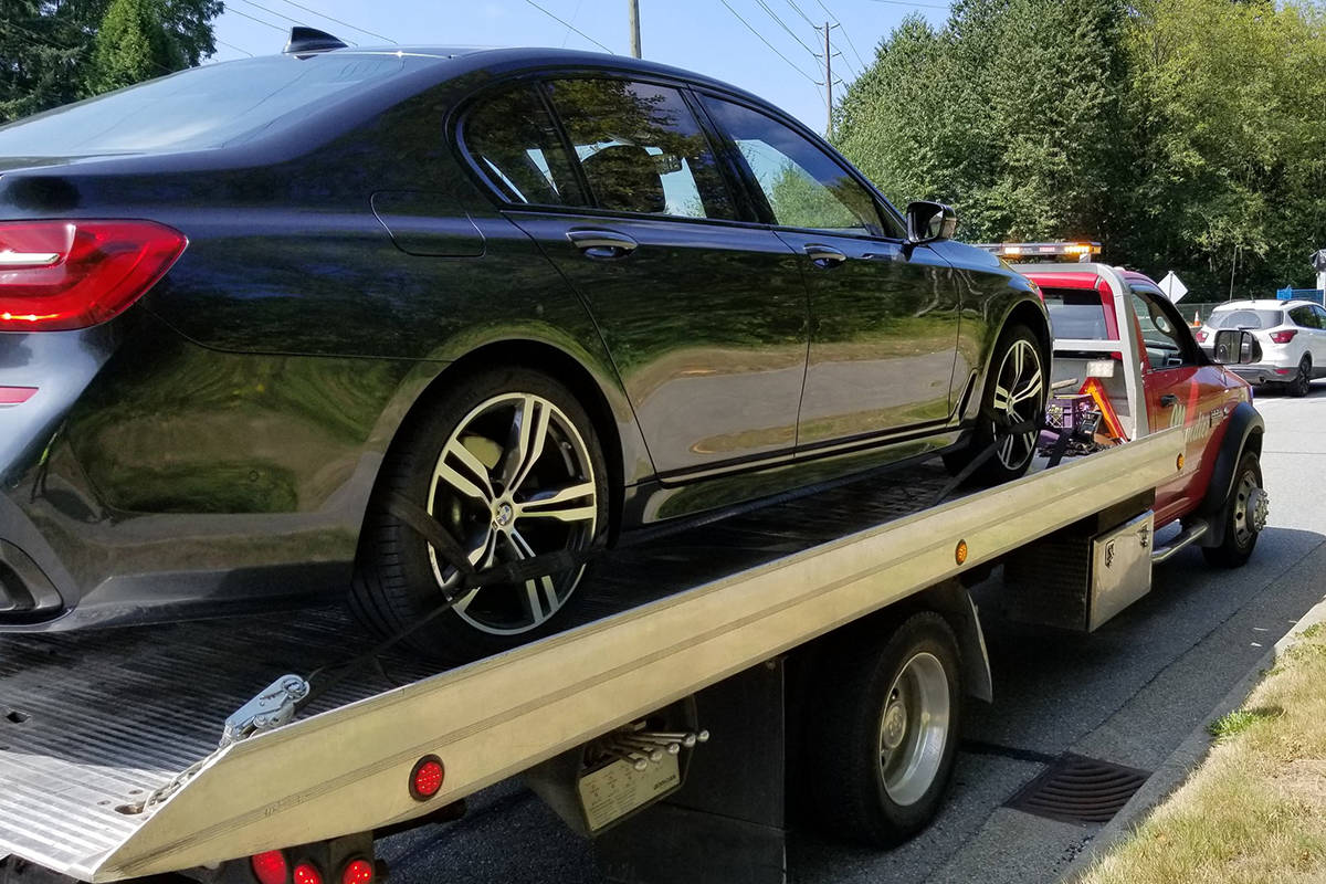 Burnaby RCMP impound a car after a driver without a licence went double the limit through a construction zone Thursday. (Burnaby RCMP)