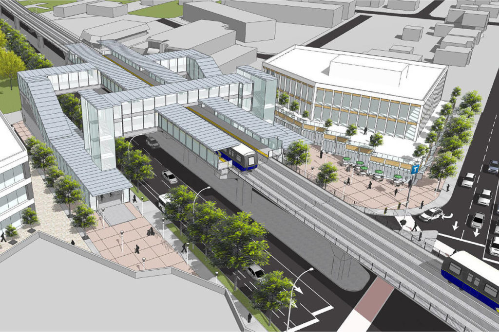 Rendering shows possible look of SkyTrain station along Fraser Highway. (File photo)