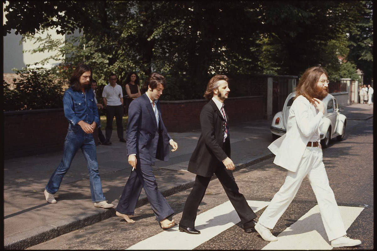 A behind the scenes photo, taken by Linda McCartney during the Abbey Road album cover photo shoot on Aug. 8, 1969. (Paul McCartney Twitter)