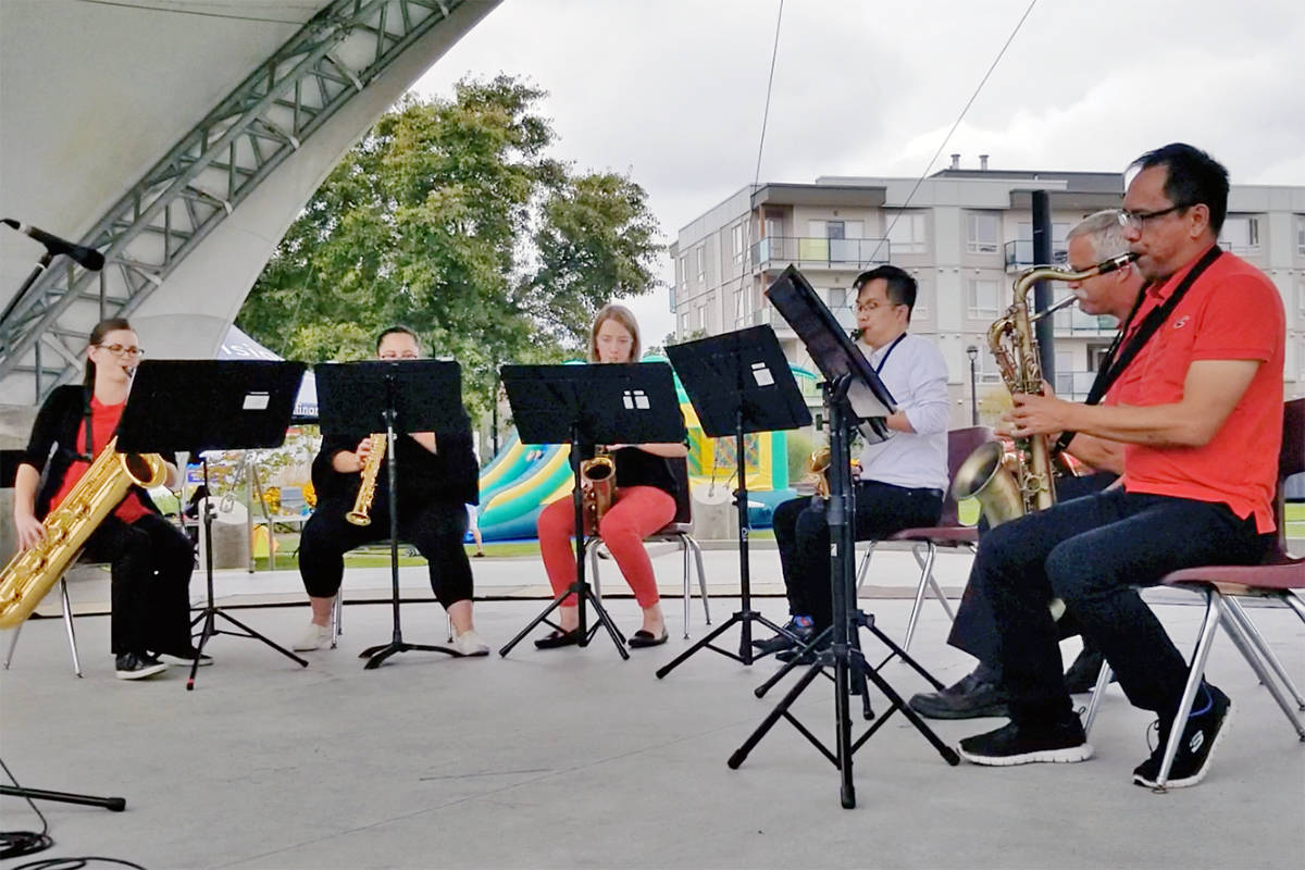 The Rue Saint Georges Saxophone Ensemble performed at Day of Pos-Abilities. (Dan Ferguson/Langley Advance Times)