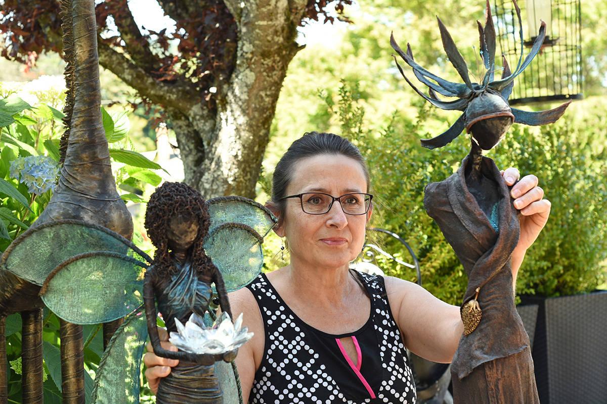Artist Kathryn Fudge's garden sculptures created from t-shirts