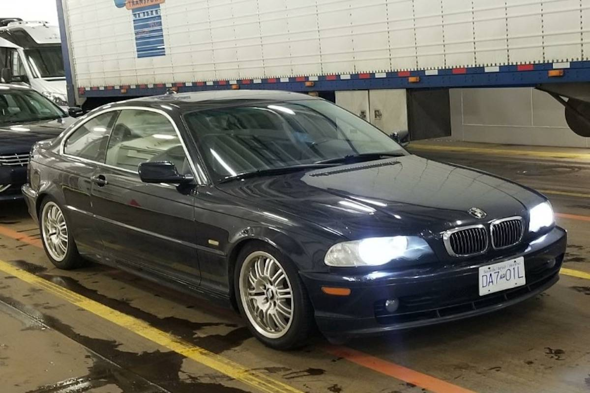 The dark blue 2002 BMW 325Ci the pair are believed to be travelling in. (RCMP submission)