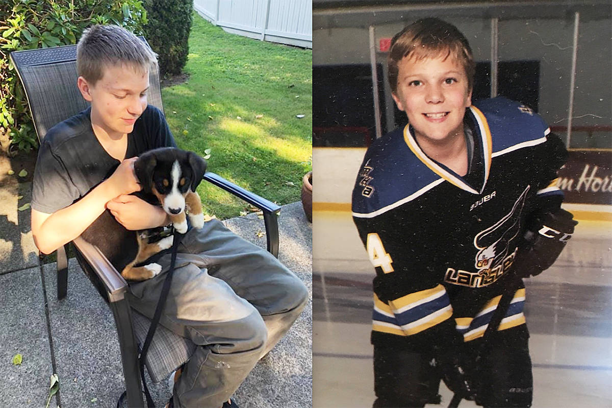 Photos released by his family show Carson Crimeni at a barbecue in early August (left) and playing hockey.