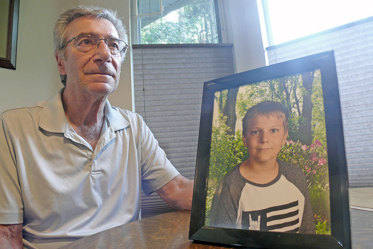 Grandfather Darrel Cremeni described looking for his grandson, 14-year-old Carson, and finding him on the ground, with police trying to revive him. (Dan Ferguson/Langley Advance Times)