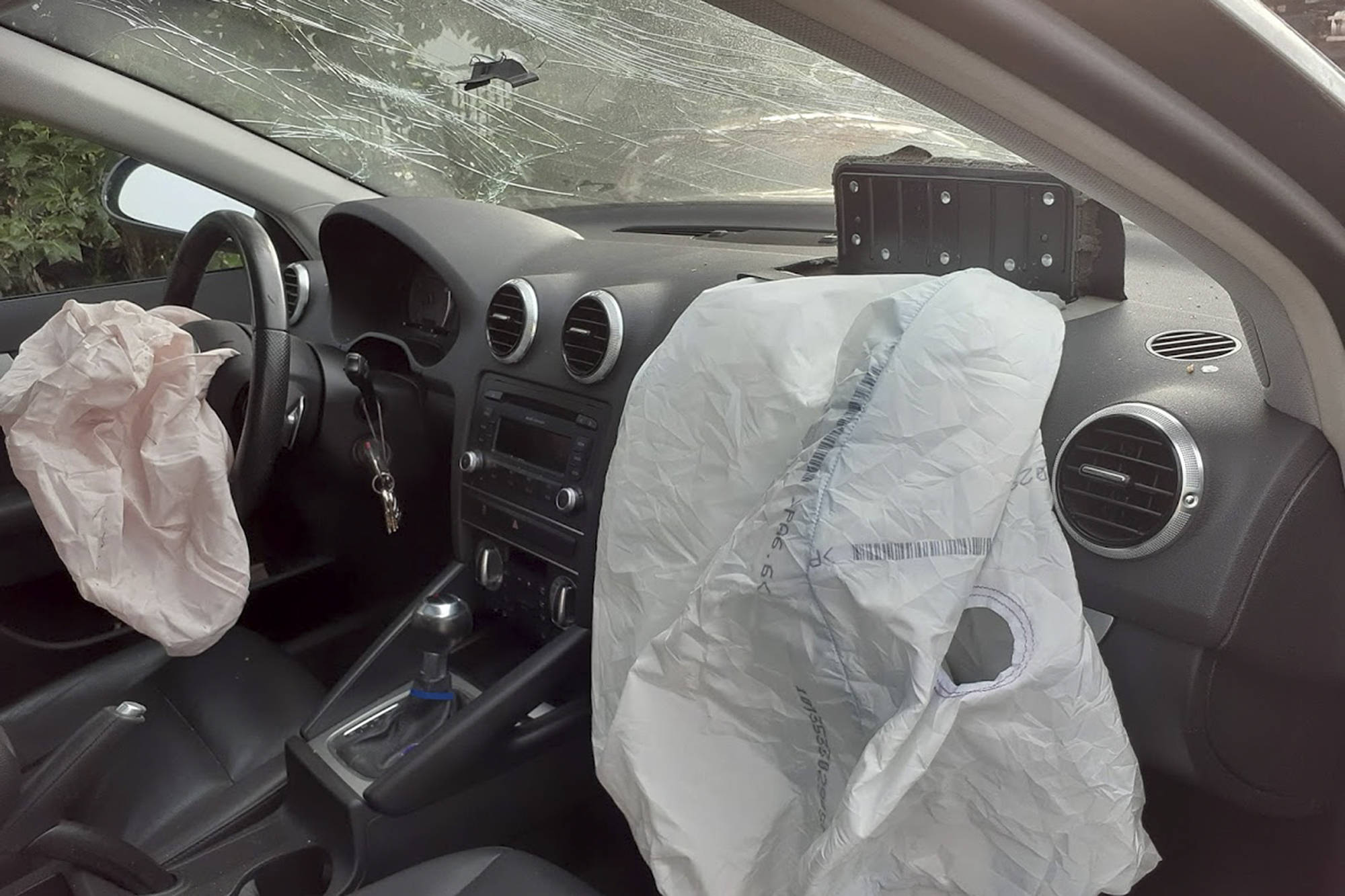 The interior of an Audi belonging to Jerry Petkau of Salmon Arm after an encounter with a black bear in eastern B.C. on Aug. 6. The vehicle was a write-off and the bear was killed but Petkau was not injured. (Photo contributed)