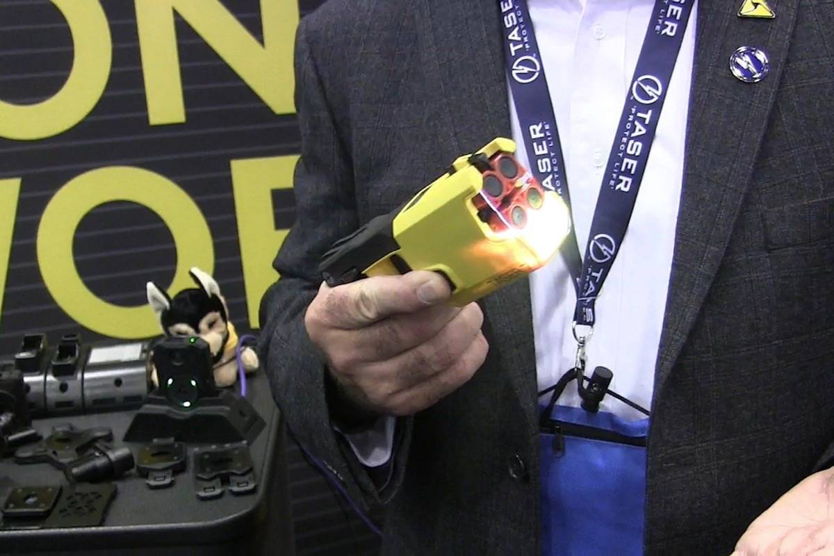 The latest in policing equipment was on display at a trade show at the Canadian Association of Chiefs of Police annual conference in Calgary on Aug. 12, 2019. (Canadian Press)
