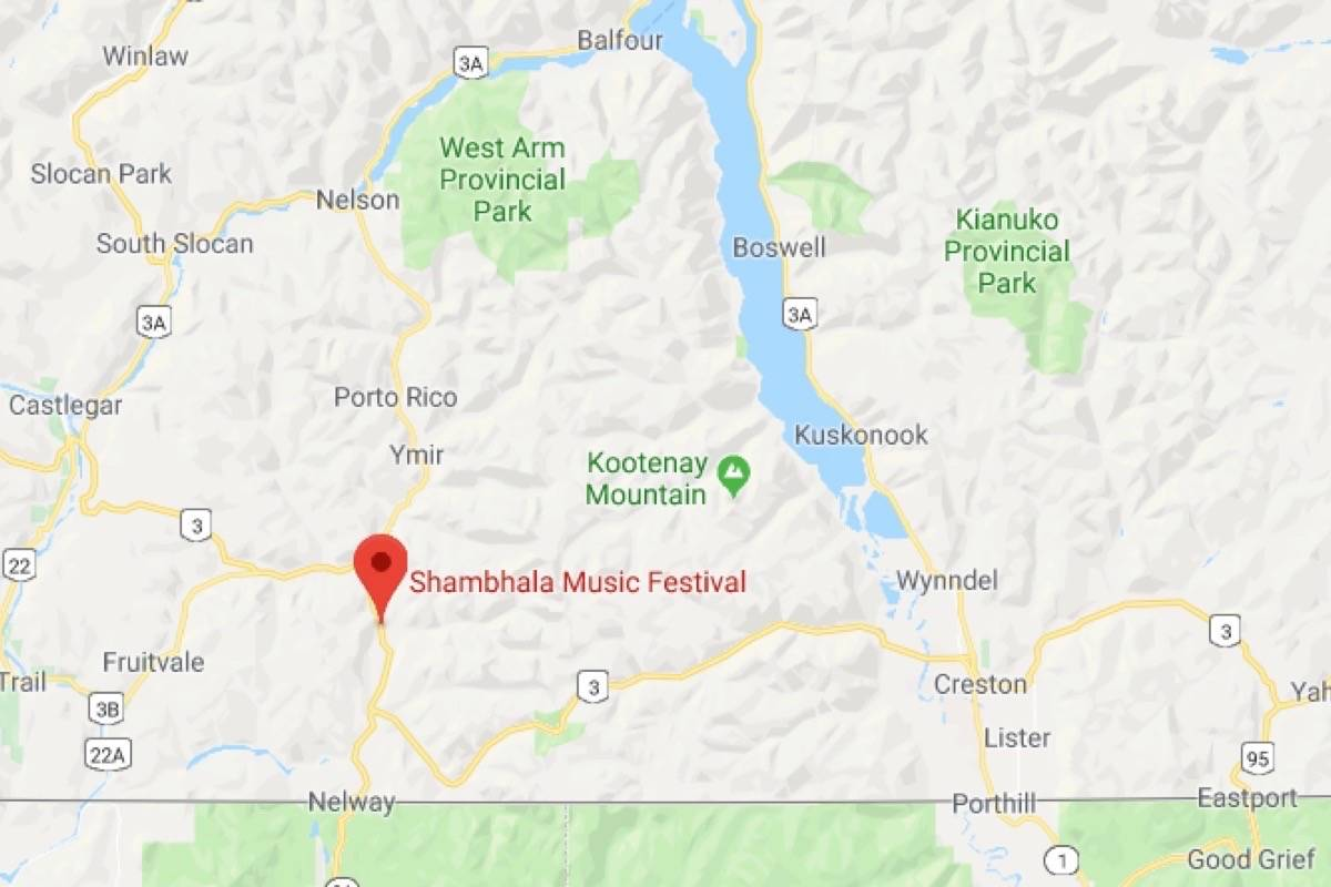 The Shambhala Music Festival takes place near Salmo, B.C. (Google Maps)