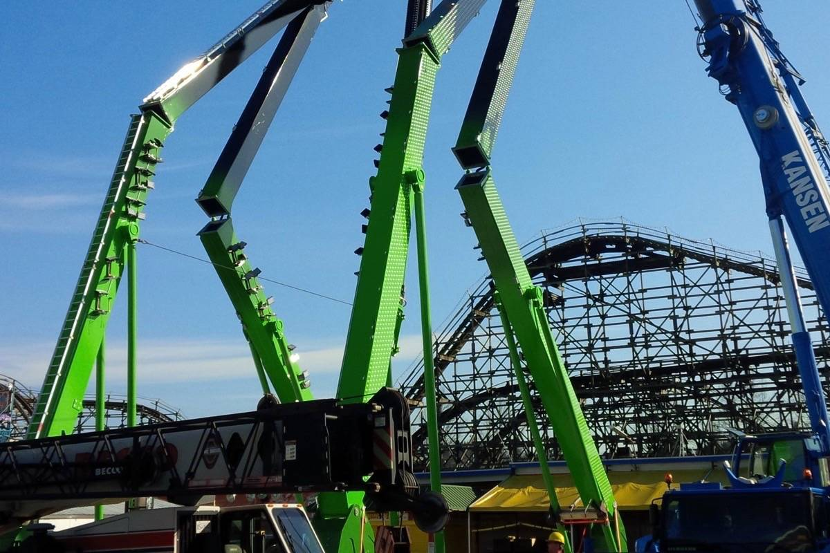 The Beast during its installation in 2015. (Playland)