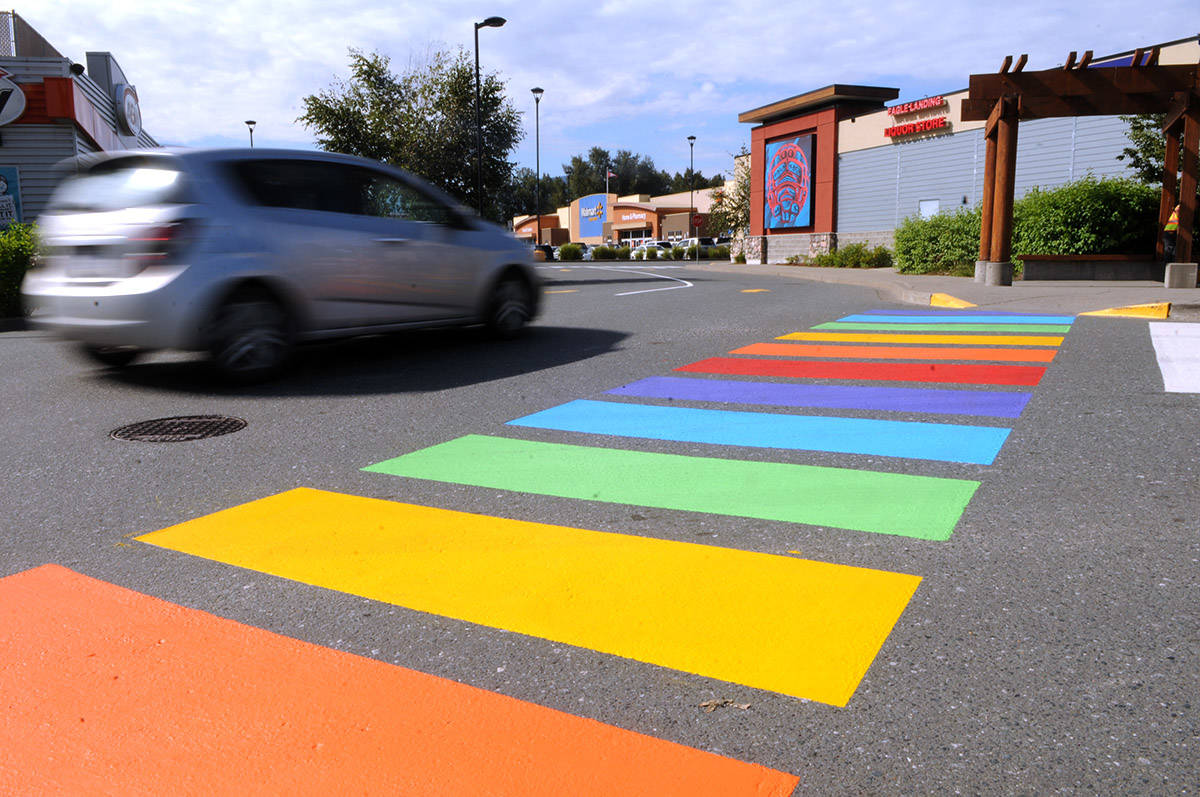 Two rainbow crosswalks have been painted at Eagle Landing on Squiala First Nation land in Chilliwack. (Jenna Hauck/ The Progress)