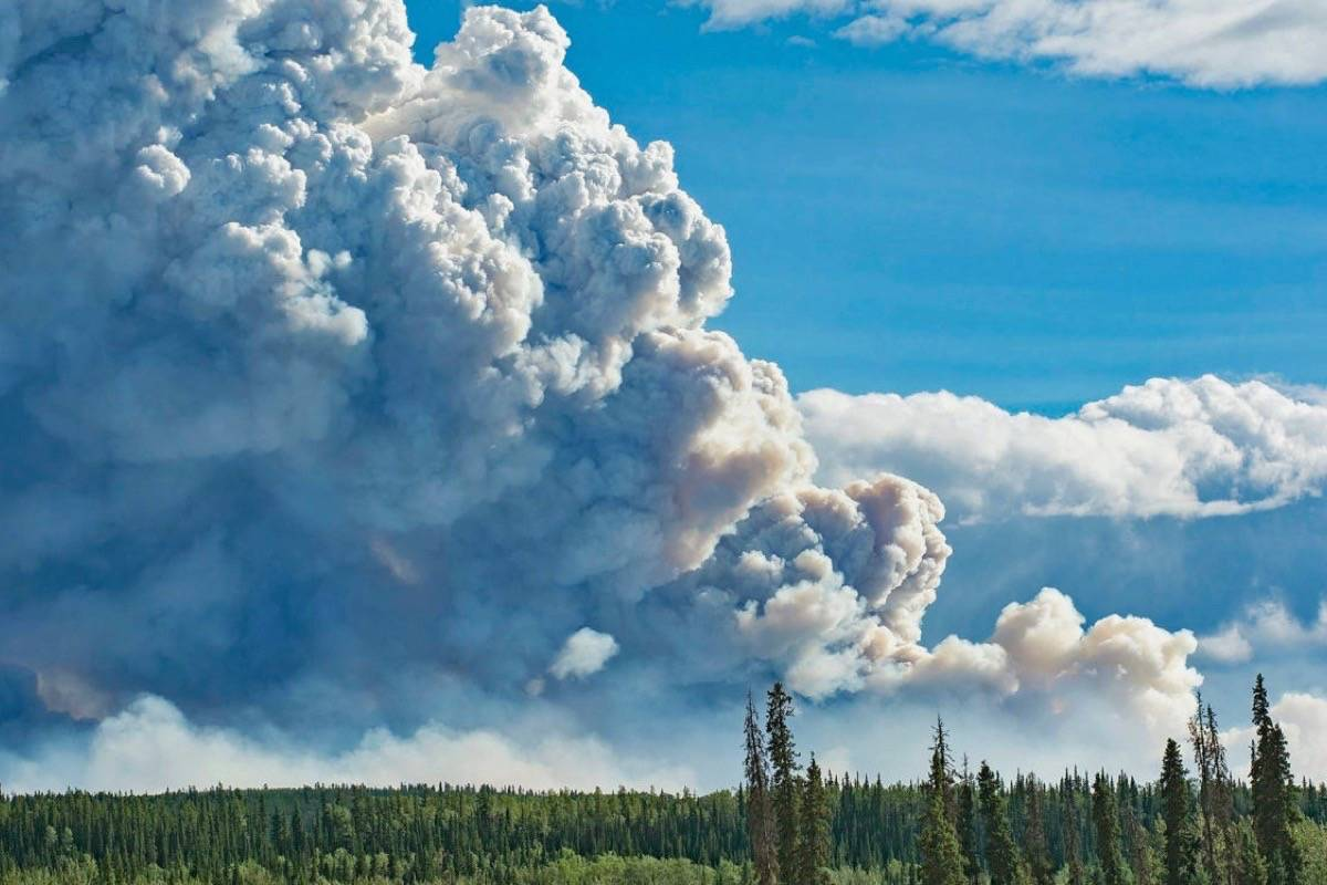 Wildfire near B.C.-Yukon border, August 2018. After two summers of widespread fires, 2019's fire season has been mild with significant rain in July and August. (Jackie Hong/Yukon News)