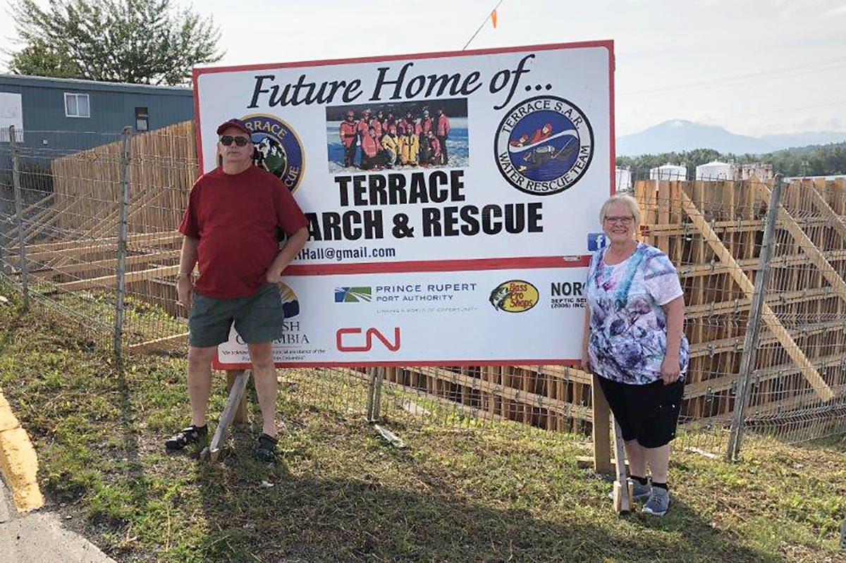 As a token of their appreciation, Herb and Carla Sill donated $10,000 to Terrace Search and Rescue's new building on Greig Ave. (Terrace SAR photo)