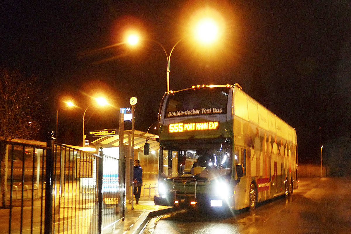 Double-decker buses were tested at the Carvolth Exchange last year. (Langley Advance Times files)