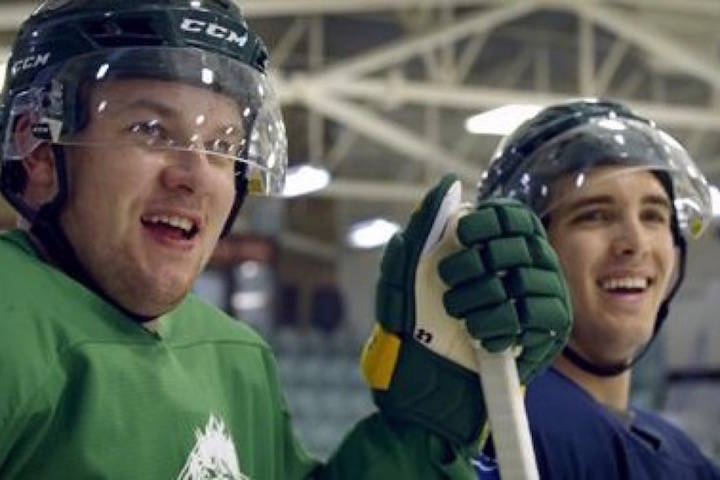 """Hockey players Derek Patter (left) and Brayden Camrud (right) are shown in a scene from the new CBC documentary """"Humboldt: The New Season."""" THE CANADIAN PRESS/HO-CBC"""