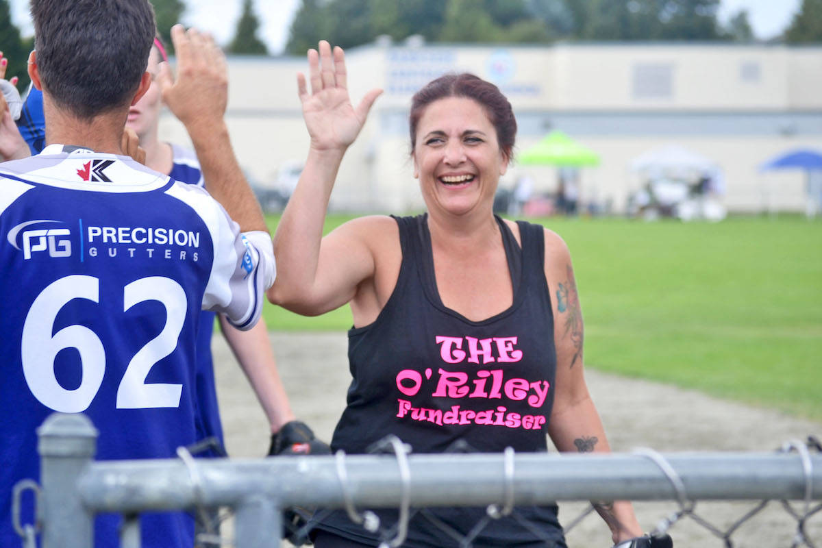 Various local businesses came forward with donations after the prompting of organizer Yvonne Pilote, a local slo-pitch player. (Sarah Grochowski photo)