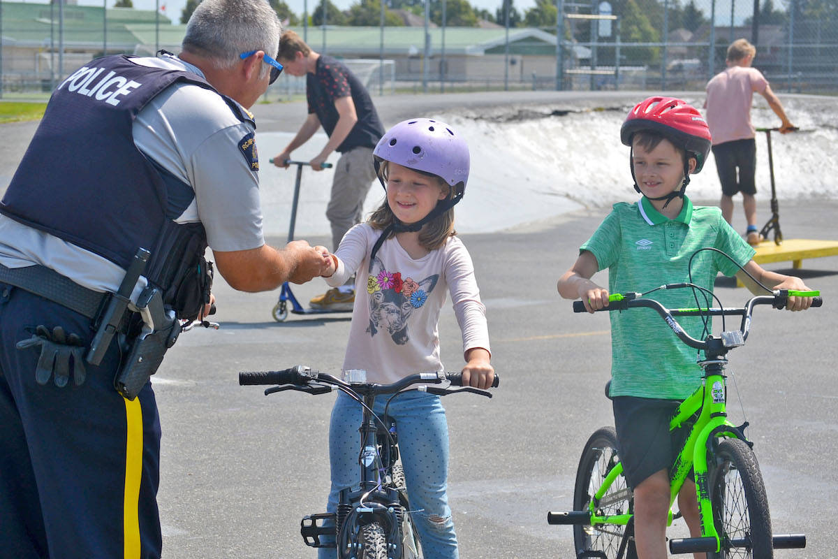 Sophie was the first to be approached by police and handed a free water park pass for good behaviour. (Sarah Grochowski photo)