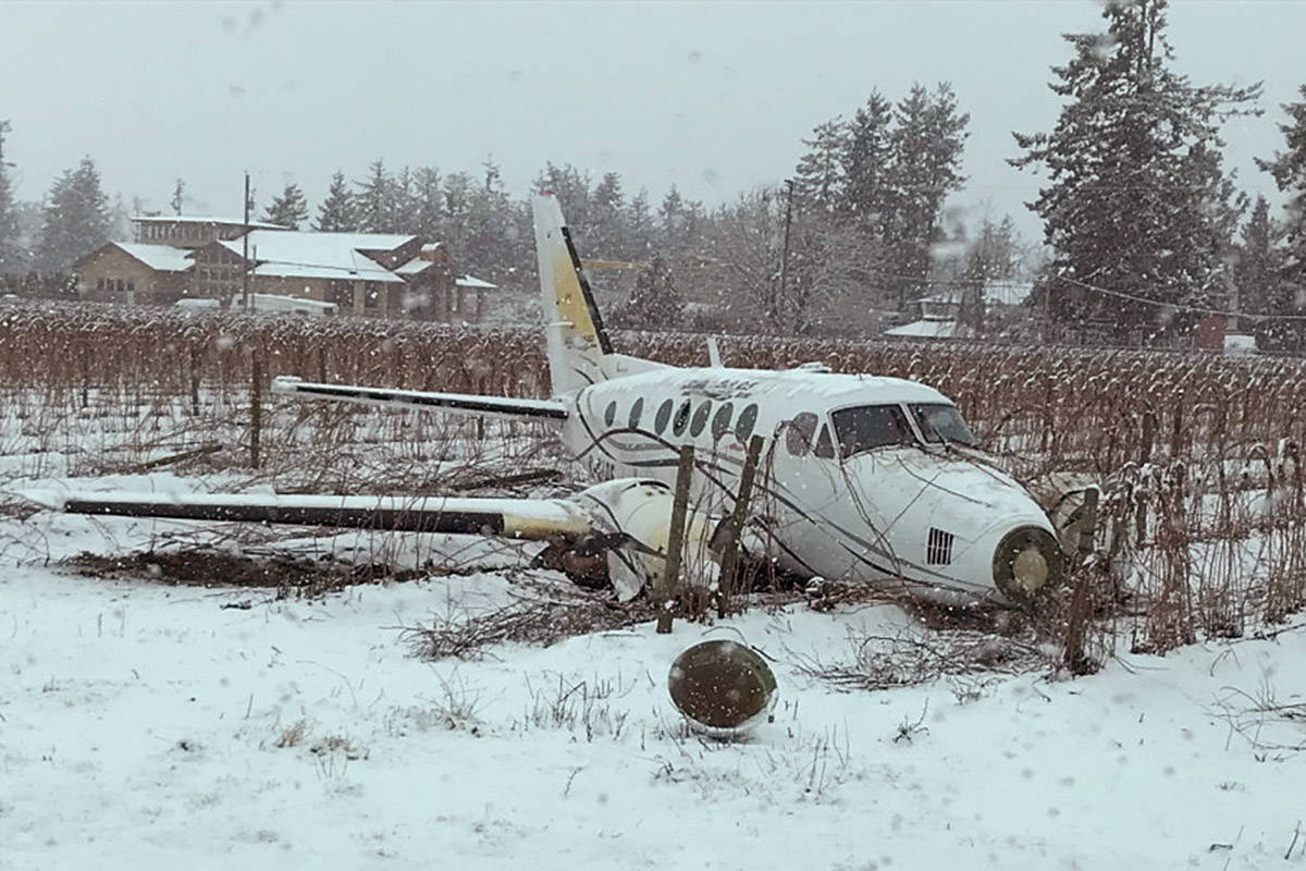 The Transportation Safety Board of Canada has now released its report into the crash of a Beechcraft King Air B100 in Abbotsford in February 2018. (Photo: Transportation Safety Board)