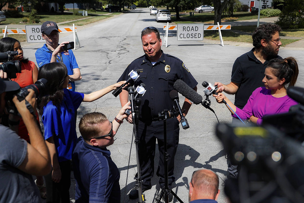 Bellbrook Police Chief Doug Doherty speaks to members of the media Monday, Aug. 5, 2019, on the street where Connor Betts had lived, in Bellbrook, Ohio. Betts was identified by authorities as the deceased gunman in a mass shooting in Dayton the previous day. (AP Photo/John Minchillo)