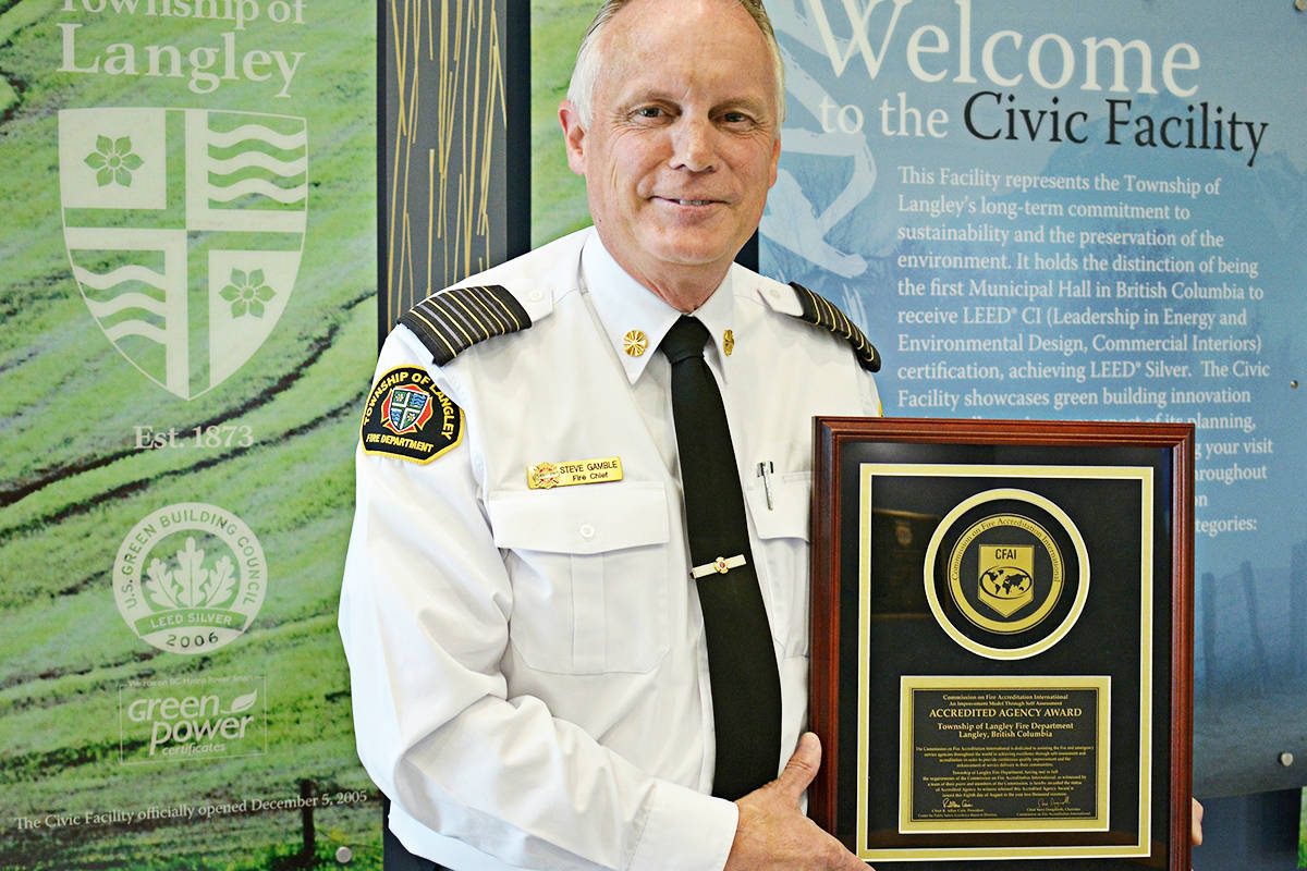 Fire Chief Stephen Gamble with the accreditation plaque from the CFAI.