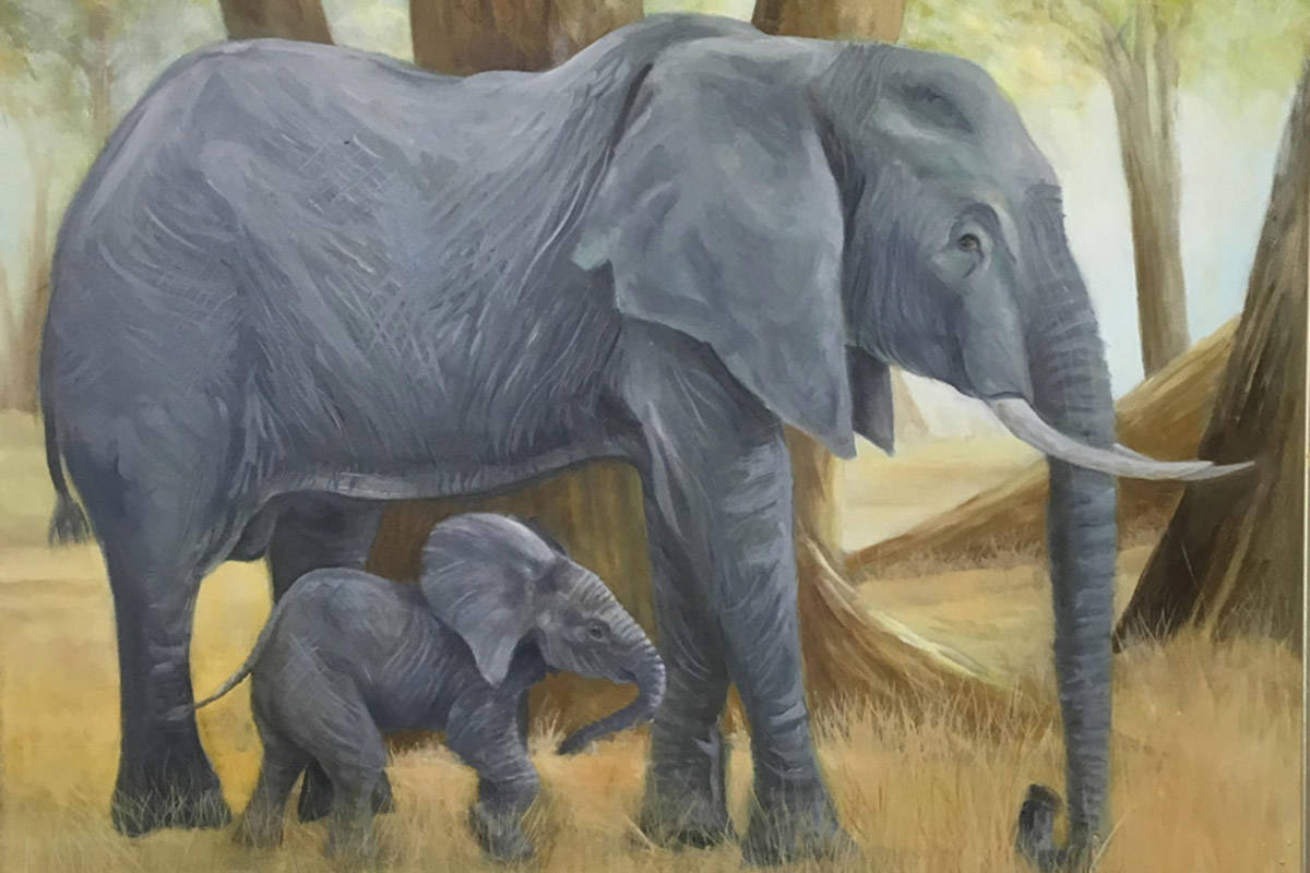 """Proceeds from Robert T. Barrett's painting titled """"That's My Boy"""" will go to save elephants in Africa. (Robert T. Barrett/Special to the Langley Advance Times)"""