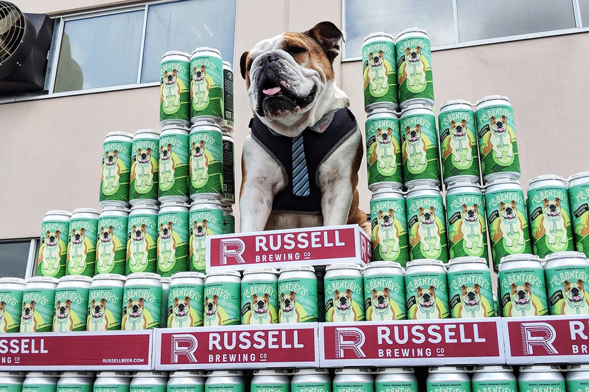 Mr. Bentley and cans of beer made in his honour by Surrey-based Russell Brewing. (Photo: facebook.com/Russell.Brewing)