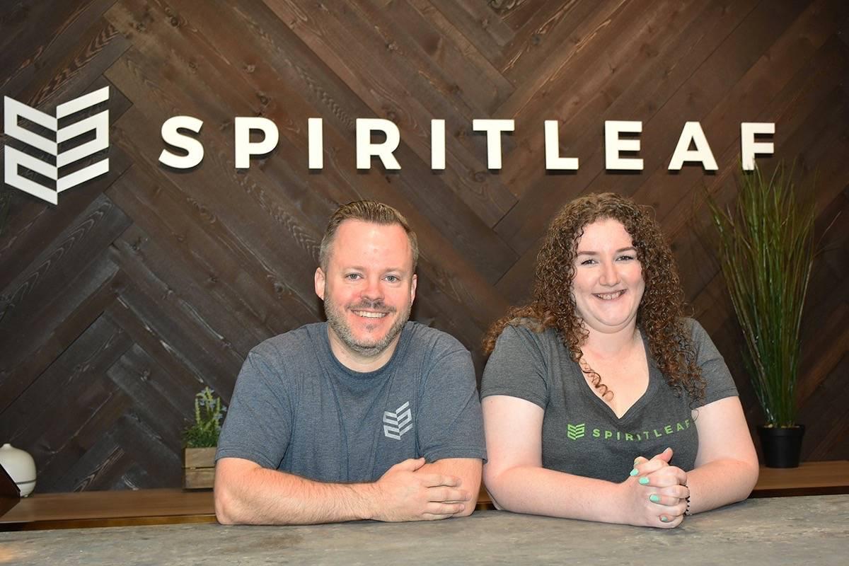Spiritleaf owners Jeff Sweetnam and fiance April Bursey own the Maple Ridge private pot retailer. (Neil Corbett/THE NEWS)