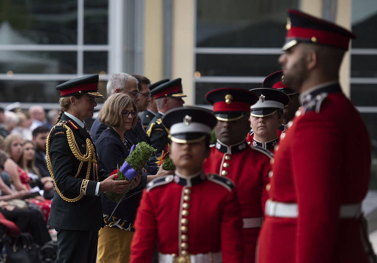 Governor General Julie Payette participates in a wreath laying during the rededication ceremony of the Kandahar cenotaph at National Defence Headquarters in Ottawa on Saturday, Aug. 17, 2019. THE CANADIAN PRESS/Justin Tang
