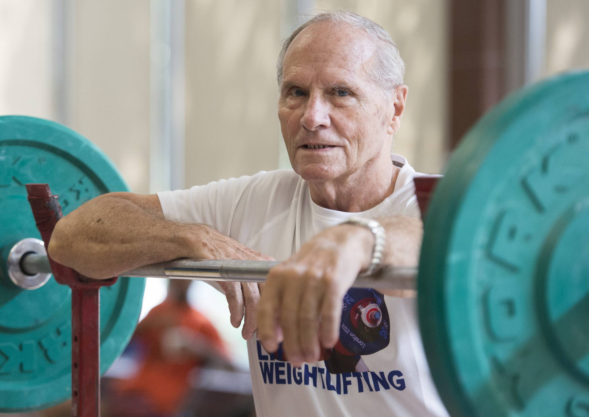 Marcel Perron poses in the training room during the 2019 World Masters Weightlifting Championship in Montreal, Saturday, Aug. 17, 2019. Perron competed on Friday and won in the 73-kilogram, 80-and-above class. THE CANADIAN PRESS/Graham Hughes