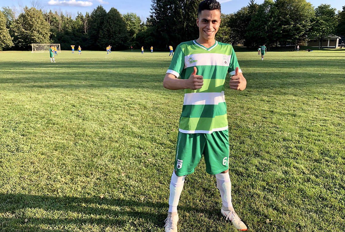 Omran Alahmad gives the thumbs up at a soccer field in Ottawa, Sunday, Aug.11, 2019. Omran Alahmad has played soccer every week since his arrival in Ottawa almost four years ago, much the way he did as a boy growing up in Syria.Alahmad, 18, travelled through Jordan to come to Canada in 2015 with his parents and five siblings, but he was determined that it wouldn't mean giving up on the sport he's played since he was just three years old. THE CANADIAN PRESS/Maan Alhmidi