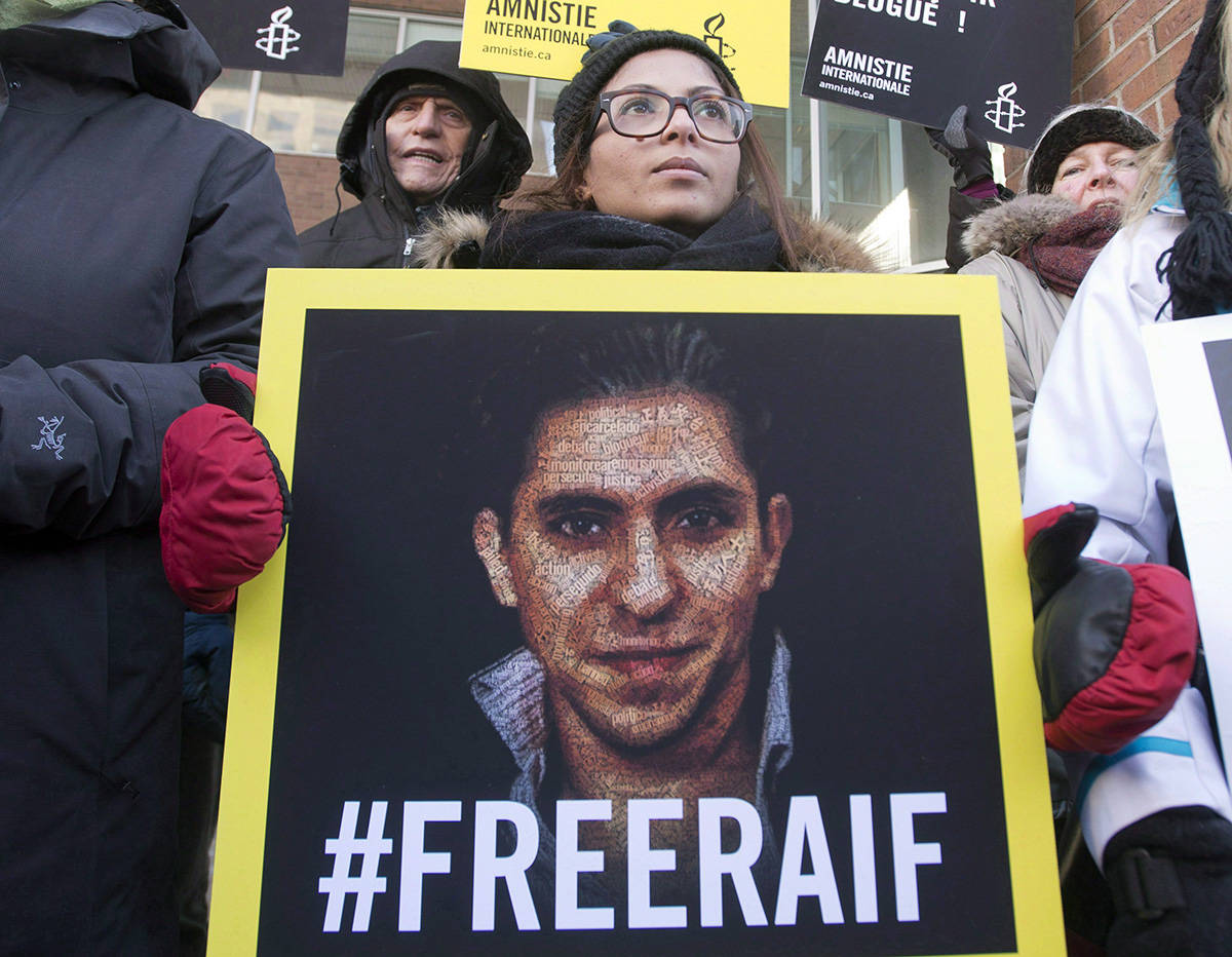 Ensaf Haidar, wife of blogger Raif Badawi, takes part in a rally for his freedom in Montreal on January 13, 2015. Raif Badawi's supporters say they haven't given up the fight to free him as they mark the five-year anniversary of his imprisonment. Badawi was arrested on June 17, 2012, and later sentenced to 1,000 lashes and 10 years in jail for his criticism of Saudi clerics. THE CANADIAN PRESS/Ryan Remiorz